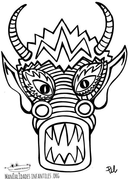 Máscara de Dragón Chino para imprimir – Planeta Educarex